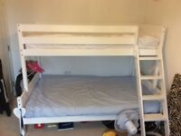Triple sleeper solid white finish pine bunk bed with strong solid slats