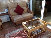 Cane furniture . 2 Seater, Settee 2 Chairs + Coffee table and side table with footstool