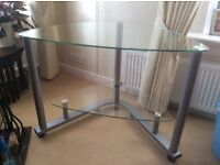 Glass computer corner table