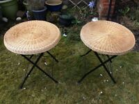 2 wicker round tables inside or outdoor