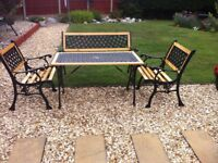 CAST IRON TABLE, BENCH AND CHAIRS, FULLY RESTORED
