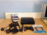 PLAYSTION 3 SLIM 320GB BUNDLE 1 WIRELESS CONTROLLER - SINGSTAR - 15 GAMES