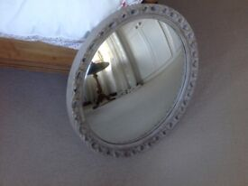 VINTAGE SHABBY CHIC CONVEX WALL MIRROR WITH PALE GREY PIERCED CARVED WOOD CIRCULAR FRAME