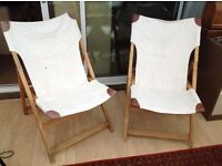 Pair of Folding Ikea Garden chairs. Canvas and wood