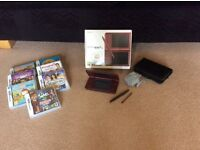 Boxed Burgundy Red Nintendo DSi XL Console, Charger & 7 Games