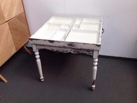 New Oliver Bonas Antique White Dining Table, Glass Top with 2 Drawers