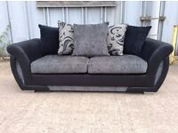 Black & Grey 3 Seat Sofa with Reversible Patterned Cushions - £199 Including Free Local Delivery