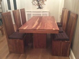 Hardwood dining table and 6 matching chairs