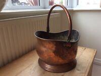 Antique Copper Coal Scuttle / Bucket
