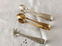 3 Pairs of Vintage Silver Plated Sugar Tongs.