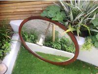 Large oval vintage wooden mirror