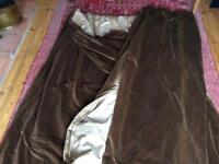 Brown velvet extra wide lined curtains