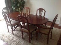 extending dining table, chairs and sideboard ( can be sold separately )