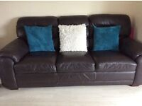 2 dark brown leather sofas 3 seaters
