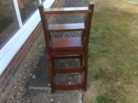 Mahogany coloured wooden library chair,converts to steps