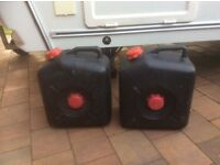 Two waste water containers suitable for caravan/camper van use.
