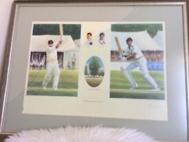 Signed print limited edition of The Two Captains Colin and Chris Cowdrey