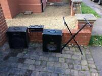Keyboard amplifier and 100w speaker and cables