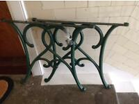 2 cast iron garden table ends