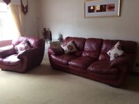 Deep Red leather 3 &2 seater, chair and footstool - extremely soft & comfortable