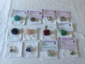 Gemstone rings quartz agate aventurine chalcedony turquoise chaorite etc TWELVE RINGS