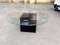 Large(2m diameter) round thick glass table with cube base