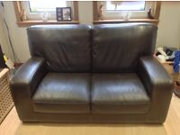 2 x dark brown leather sofas