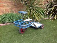 Vintage industrial nursery ride on toy trike with rear platform