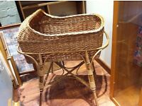 Large Wicker Baby's Crib