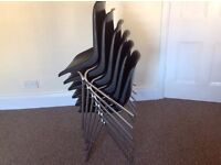 Joblot of 6 BLACK chairs plastic and metal stack able chairs school stacking office wholesale