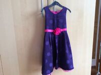 Pretty purple and pink dress w flower detail, George 4-5 years, excellent condition