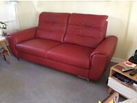 Cranberry red Italian leather sofa