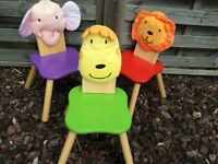 Childs wooden table and 4 chairs - animal theme