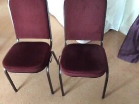 Powder coated metal framed restaurant chairs with burgundy upholstery