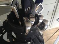 Full set of Australia proline golf clubs irons and woods proline golf bag and trolly .