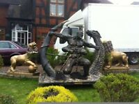 LIFE SCULPTURE OF CHINESE YEW GOD FIGHTING DRAGON
