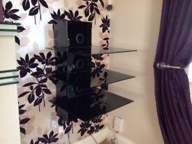 3 tier black glass audio shelving