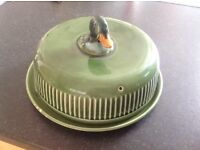 Antique duck cake dome, cake stand, cheese dome, cheese board
