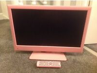 22 inch pink tv with built in freeview