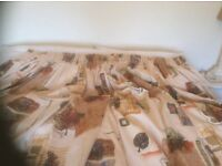 Long curtains, fully lined, hand made, pencil pleat, with matching pelmets, stunning fabric