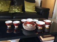 Gladstone Maroon & Gold Maple Leaf Bone China Tea set 14 piece
