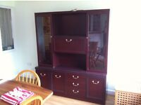 Glass fronted dresser and 2 seater sofa bed