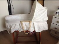Moses basket with mammas and papas rocking stand
