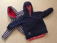 Like New: JoJo Maman Bebe Navy/White Stripes Reversible Jacket Size 4-5 Years