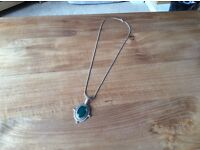 Beautiful Jade pendant with 18inch necklace all sterling silver.