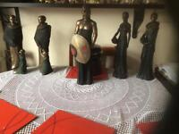 Set of five African Masai statues