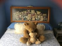 Old Fashion Teddy Bear Collage Picture Print in Large Pine Frame, Giant Teddy and Patchwork Ted