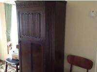 Dark oak hall wardrobe