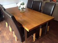 Large Dinning Table & Six High Back Leather Chairs