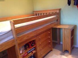 John Lewis mid sleeper pine bed, drawers and cabinet